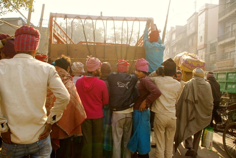 crowded street delhi india